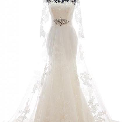 Mermaid Lace Tulle Court Train Wedd..