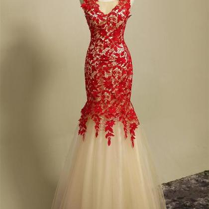 Champagne and Red Lace Dress