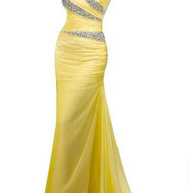 One Shoulder Prom dresses , Yellow ..