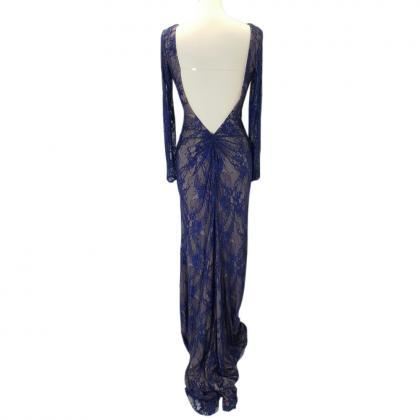 Fashion Navy Lace Nude Inner Deep V..