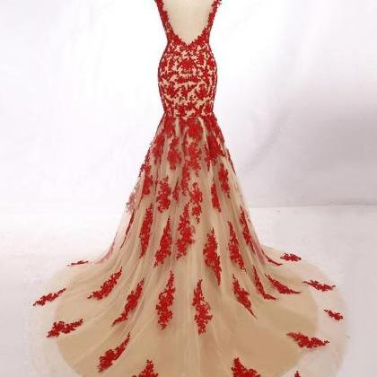 Red Mermaid Evening Dress Bateau Ne..