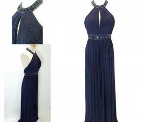 Navy Halter Top Prom..
