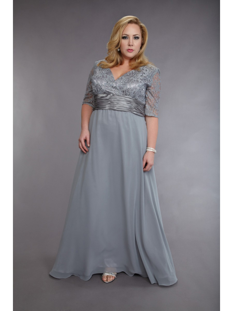 Silver Plus Size Evening Dresses V-neck Sheer 1/2 Long Sleeve Lace Beads  30D Chiffon Prom Dress Formal Party Dress