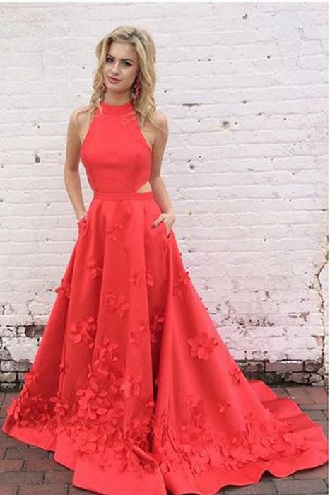 Hand Made Flowers Red Dresses High Neck Prom Dress 2018 Special Back Design  Satin Backless Evening 3e8a2250c