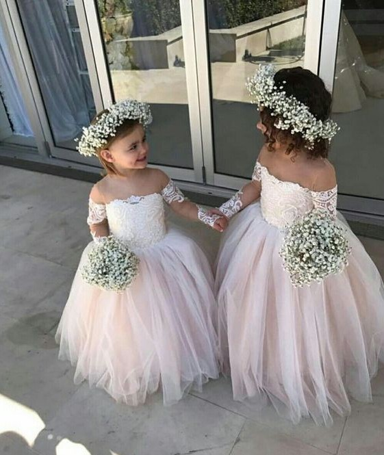 bcae8ad534 Blush Pink off Shoulder Flower Girl Dresses 2018 Illusion Long Sleeve Lace  Applique Ball Gown Tulle Flower Girls Dress For Wedding