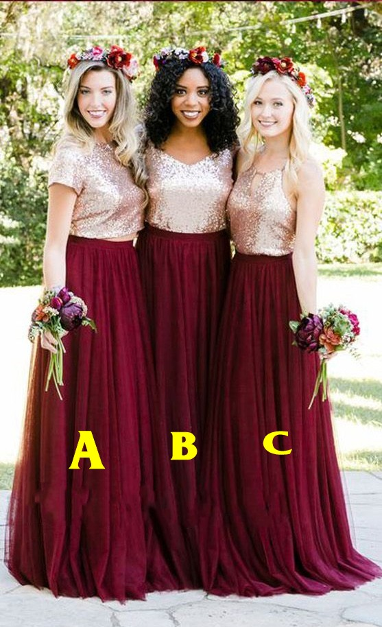 2018 Fashionable Sequined Tulle Bridesmaids Dresses Halter Open Back ...