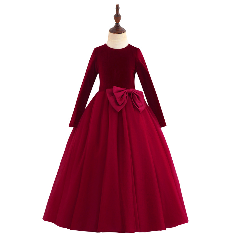 b387cb0abe620 Velvet Girls Party Dresses 2018 Long Sleeve Jewel Big Bow Flower Girl  Dresses Girls Special Occasion Dresses