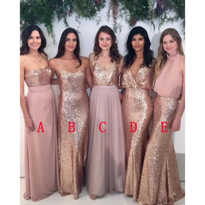 2018 Bridesmaids Dresses Long Sequined Chiffon V Neck Open Back Wedding Party Dress Prom Gowns