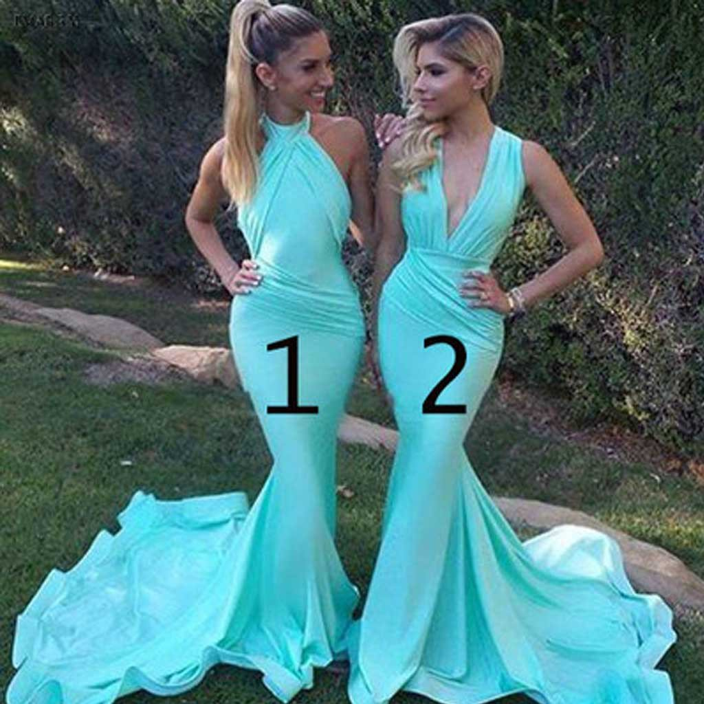 Aqua Blue Mermaid Style Bridesmaid Dresses 2018 Halter Pleats Open Back Chiffon Long Party Dress Evening Gowns For Wedding Custom Made