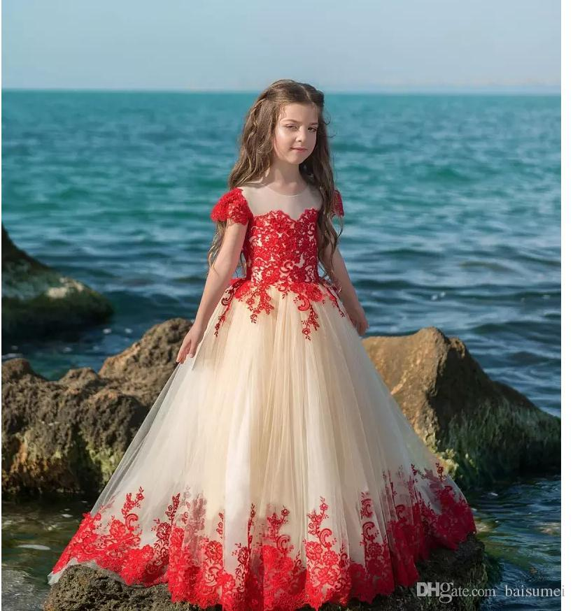 6399f49011 Red Lace Flower Girl Dresses For Wedding Short Sleeve Jewel Tulle Sweep  Train First Communion Dress Girls Special Occasion Dress
