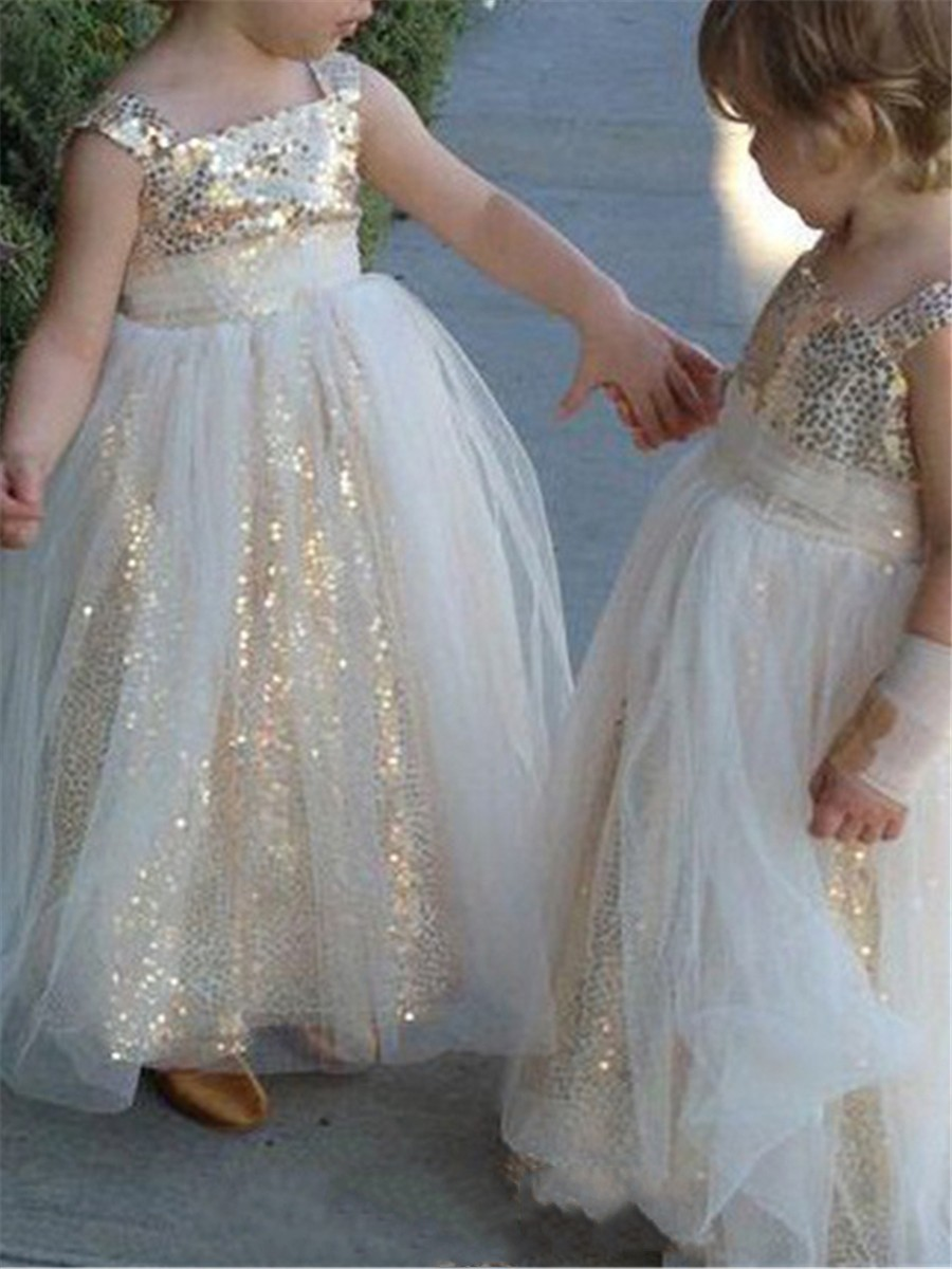 f6047bdc0b99c Gold Sequined First Communion Dresses Toddlers Spaghetti Backless Tulle  Pleats Flower Girl Dresses Kids