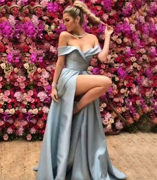 Tiffany Blue Prom Dresses Off Shoulder Satin Backless Pleats Plus Size  Formal Evening Gowns Party Dress Special Occasion Dress Women