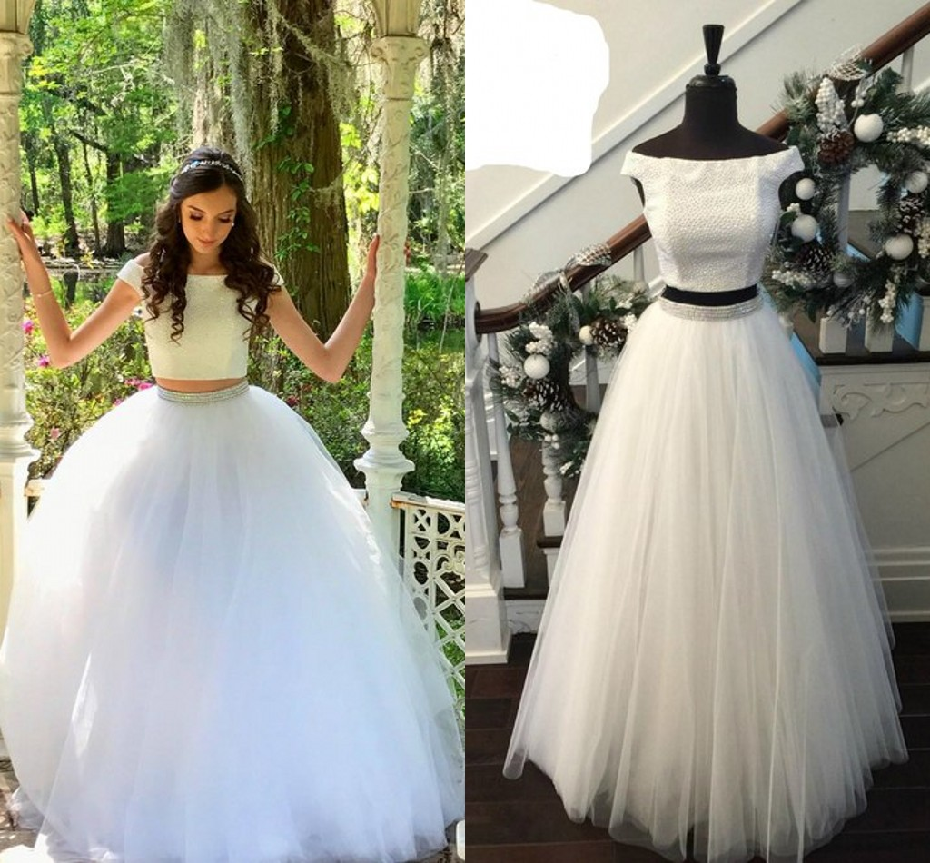 61b32714b9d 2019 Two Pieces Quinceanera Dresses Ball Gowns Crystal Beaded Tulle Prom  Dress 8th Grade Graduation Dresses