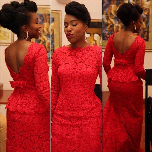 V Backless Red Lace Evening Dresses Formal,Plus Size Mermaid Party ...