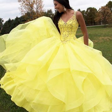 3d1054e1606 Yellow Ball Gown Quinceanera Dresses,Crystal Beading Prom Dresses 8th  Grade,Sweetheart Spaghetti Graduation Dresses