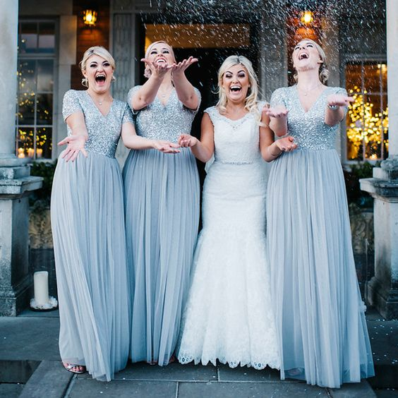 V-neck Bridesmaid Dresses,Sequined Bridesmaid Dress,Silver Bridesmaid Dresses,Bridal Dresses Wedding Gowns