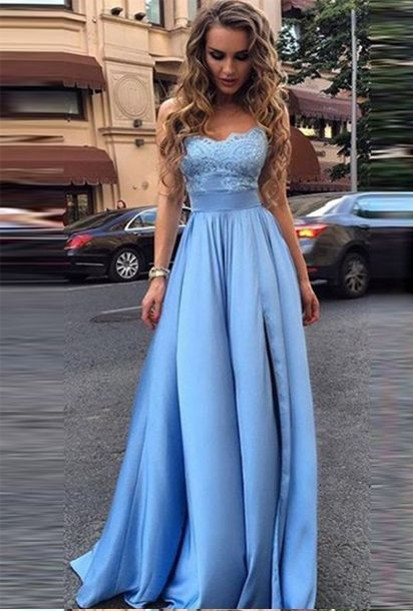 2ae2ca621fbe Baby Blue Formal Dresses,Strapless Formal Dress,Empire Waist Formal Prom  Dresses,Sheath Prom Dresses