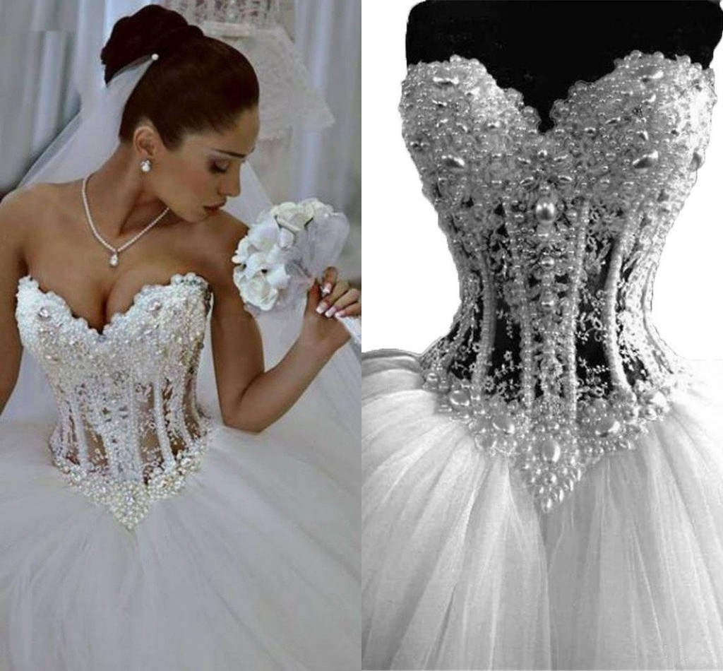 Sparkly Ball Gown Corset Wedding Dress Pearls Sweetheart: Vintage Wedding Dresses 2018 Sweetheart See Through Pearls