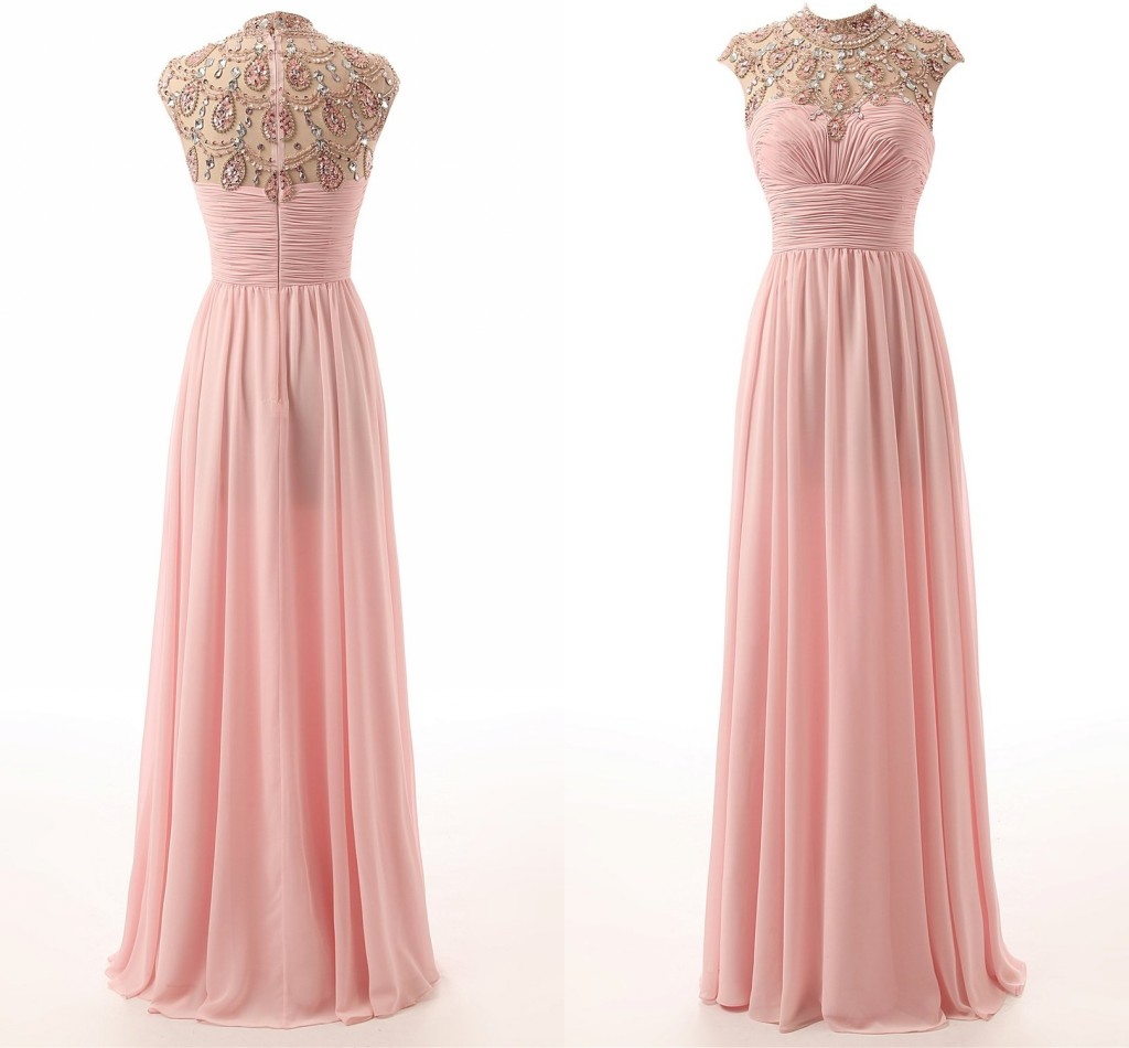 Blush Pink Chiffon Floor Length Prom Dresses Cheap High