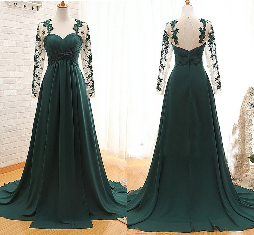 2017 Dark Green Sexy Illusion Long Sleeves Mother of the Bride Groom Dresses Cheap Long Chiffon Evening Dress Formal Gowns Custom