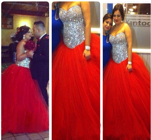 Plus Size Red Ball Gown Formal Dresses Sparkly Sequin Bodice Lace Up ...