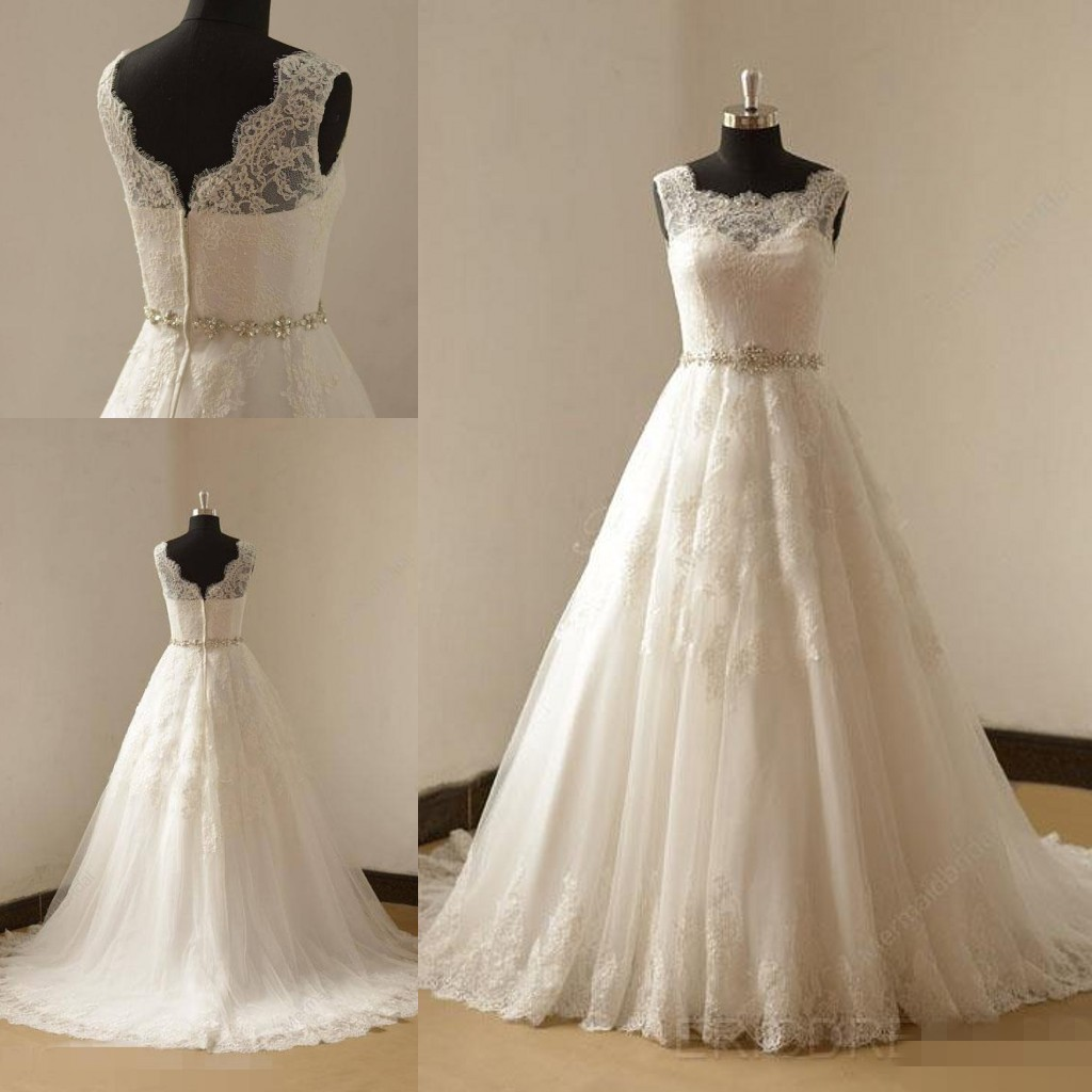 Fashion Sheer Neckline Wedding Dresses Real Photo Tulle Applique ...