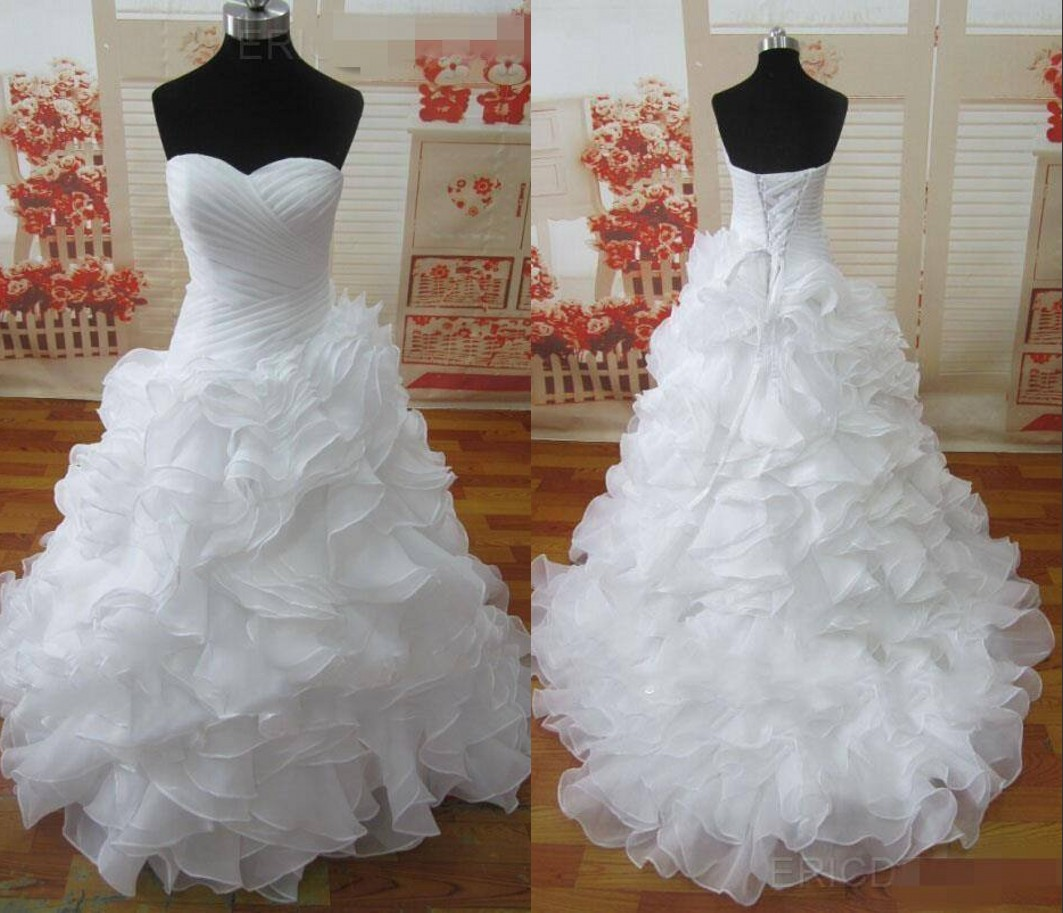 Backless Wedding Gowns For Sale: Hot Sale White Ivory Wedding Dresses Sweetheart Organza