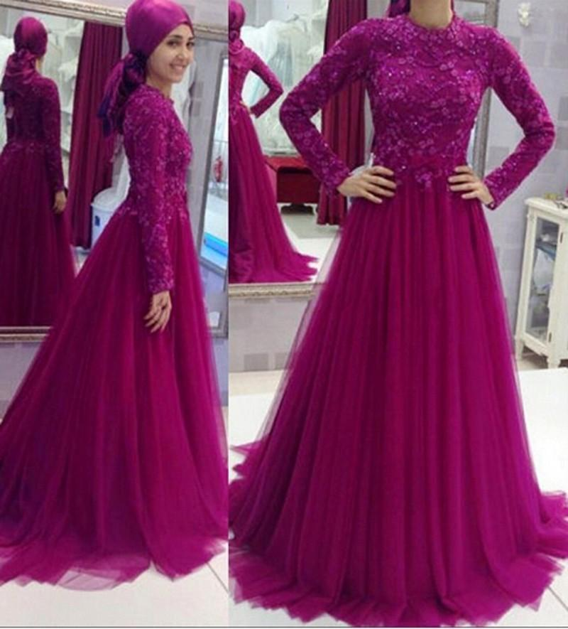 Muslim Evening Dresses 2017 Long Sleeve High Neck Appliques Beaded ...
