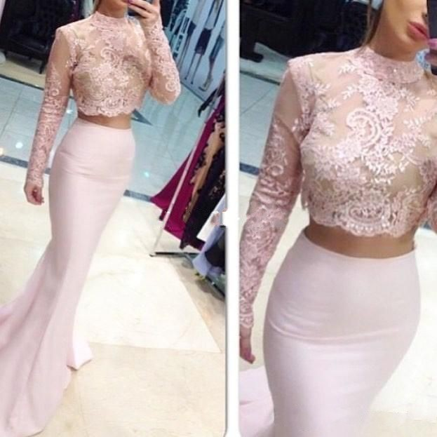 Two Pieces Long Sleeve Evening Dresses 2018 Jewel Collar Sweep Train Beaded Sequins Evening Wear Dress Vestidos For Party Formal Prom Gowns