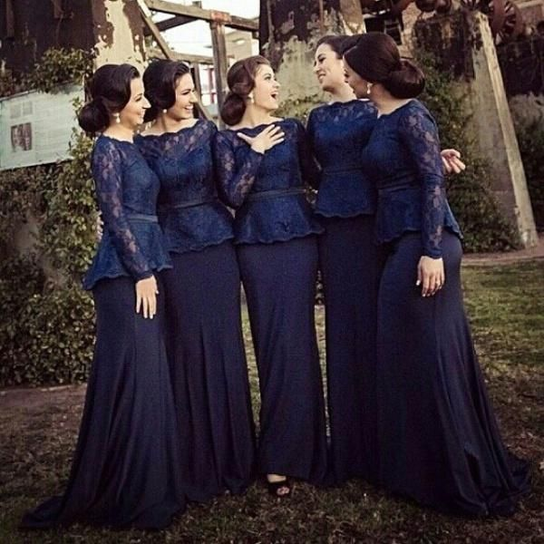 Dark Navy Bridesmaid Dresses 2018 Scoop Collar Long Sleeve Lace Sweep Train  Sash Piping Formal Prom e0c1a1fae8d6