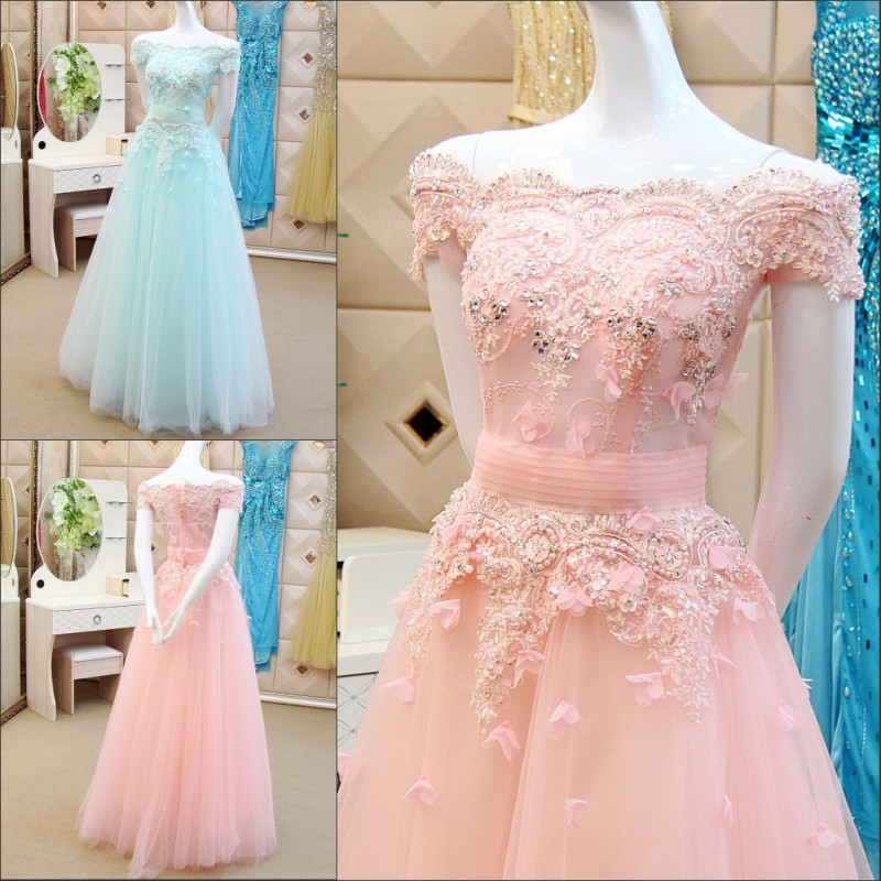 Light Pink Wedding Dresses 2017 Beaded A Line Short Sleeve Lace Up  Floor Length Beading Sequins Light Sky Blue Spring Bridal Gown Vestido