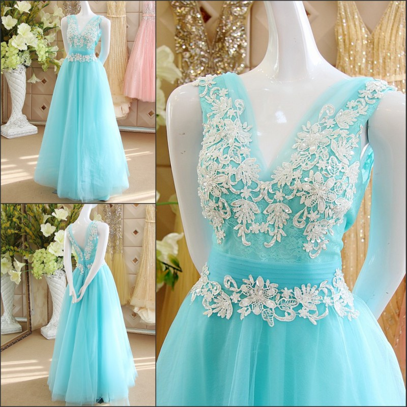 Light Blue Wedding Dresses Beaded Sequins Floor-Length Backless V ...