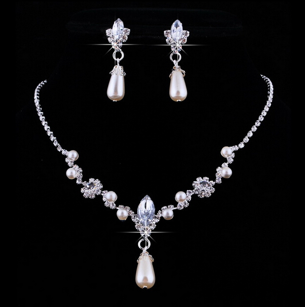 2016 New Fashion In Stock Girls All Wedding Brides Modern Bridal Jewelry Earrings Necklace Cheap Free Shipping Hot Sales Accessories