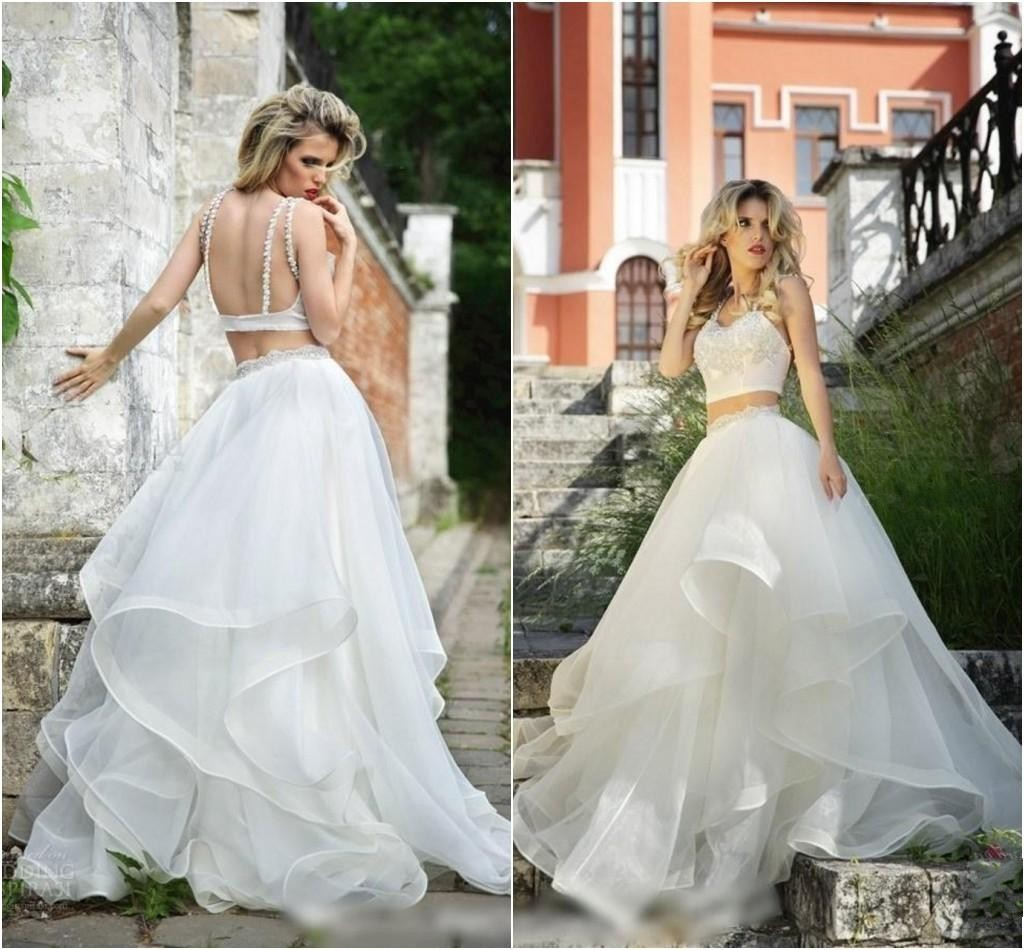 20167 Two Pieces Wedding Dresses Backless Tiered Skirt Dress High Fashion Bridal Gowns Vestidos Sweep Train Piping Modern New