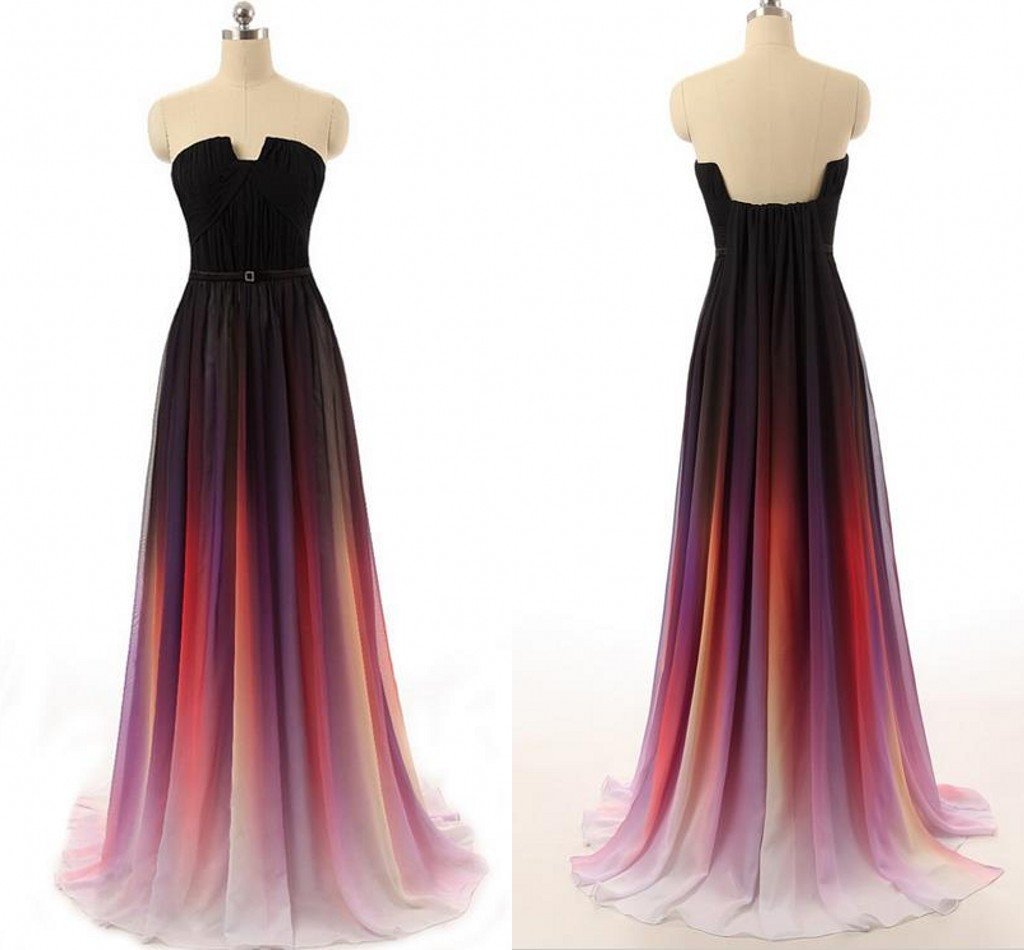 1dad9fbe12f Gradient Ombre Dresses Bridesmaid Dresses Evening Wear Prom Dresses Off  Shoulder Sweep Train Cheap Pleats Backless Prom Dresses Long