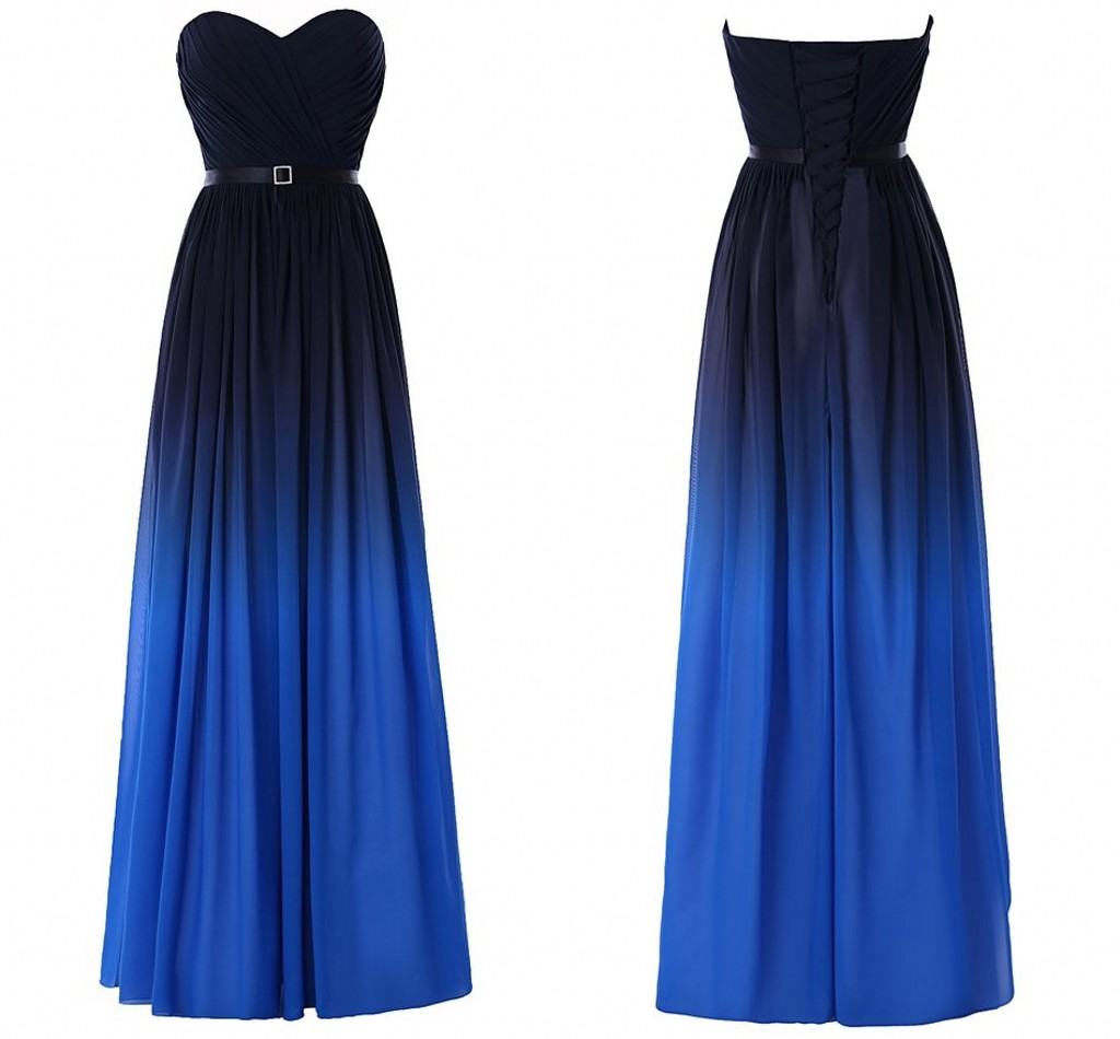 fd62830729b Gradient Ombre Dresses 2018 Prom Dress Backless Evening Wear Sash Cheap  Sweetheart Formal Elegant Party Gown Celebrity Gowns Piping Chiffon