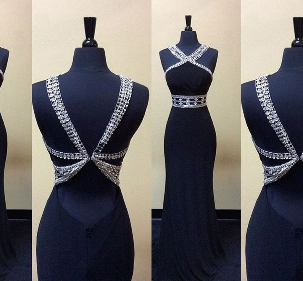 black evening dresses,beaded evening dresses,long prom dress,backless prom dress,sexy back,long prom dress,dress evening dress,party dress
