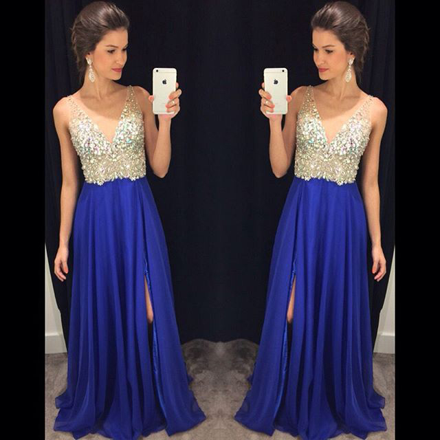 Deep V neck Sexy Side Split Royal Blue Prom Dresses long Chiffon Prom Gown  Backless Pleated Crystals Evening Formal Dress Maxi Dress 167 615d1a94030f