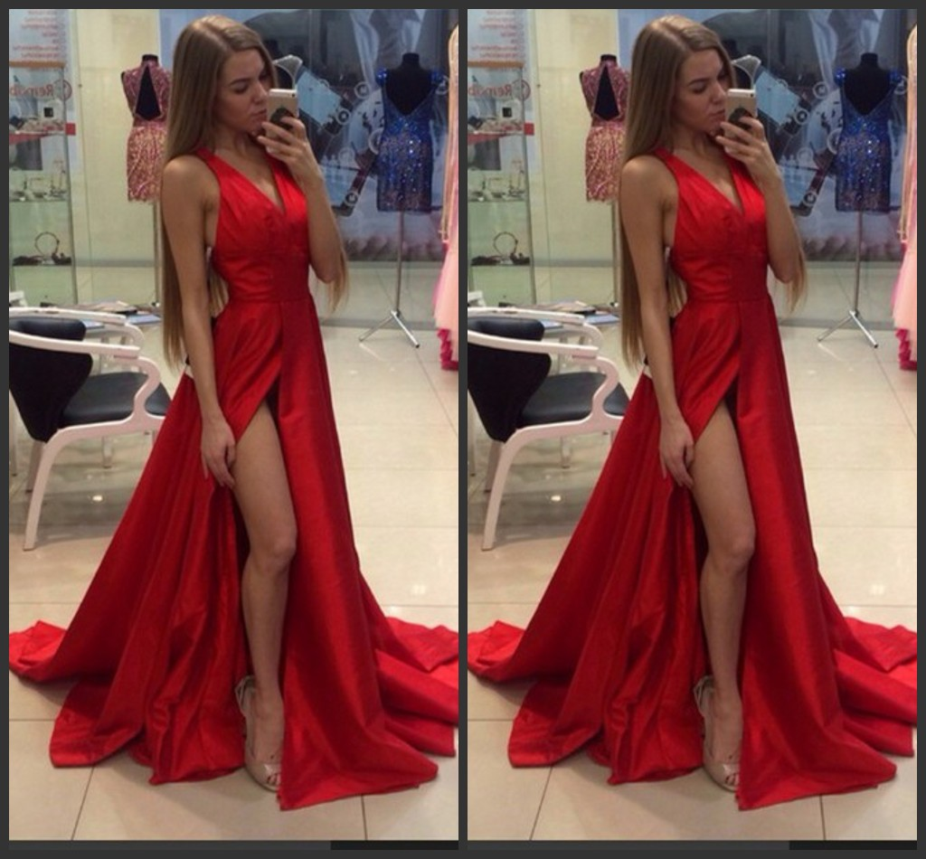 Red carpet dress sexy evening split prom dress 2016 deep v - Designer red carpet dresses ...