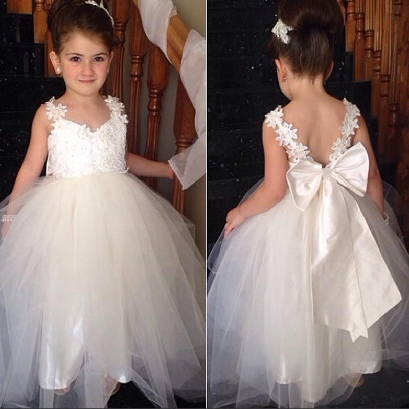 Weddings & Events Wedding Party Dress Ivory Pink Lace Girls Pageant Dresses Sheer Neck Cap Sleeves Appliques Tulle Floor Length Ball Gown Birthday Holiday Dresses