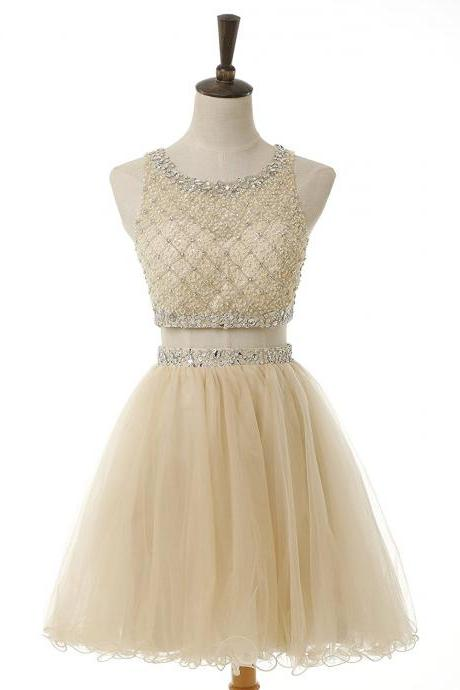 Champagne Cute Short Graduation Dresses For Girls Juniors Short Two Pieces Prom Dress Hollow Back Bling Beaded Crystal Rhinestones Party gowns