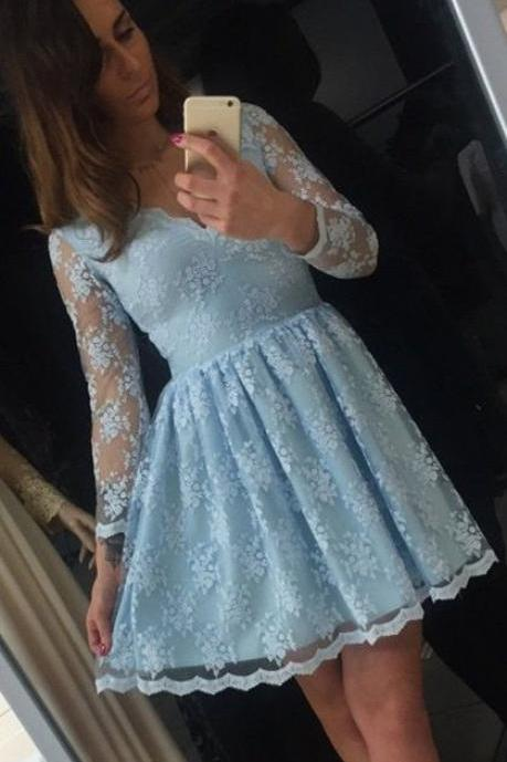 Illusion Long Sleeve Homecoming Dresses Cheap 2018 Vintage Lace Short Prom Dress Party Dresses For 16 Years Old