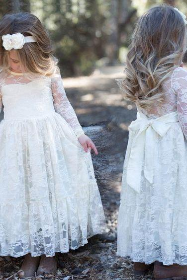 Charming Flower Girls Dresses For Babied or Toddlers Lace Long Sleeve Jewel Bow Flower Girl Dresses For Wedding 2018