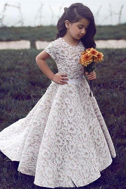 2018 Charming Flower Girl Dresses For Wedding Vintage Lace Short Sleeve Jewel Zipper Pageant Dress For Little Girls