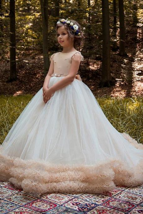 Ball Gown Pageant Dresses Girls 7-16 Satin Tulle Hand Made Flower Bows Princess Flower Girls Dresses 2018