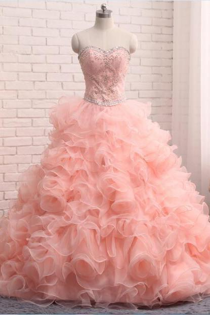 2018 Fashion Coral Quinceanera Dresses Ruffles Sweetheart Backless Crystal Beaded Sequins Lace-up Prom Dress Ball Gown Graduation Dresses