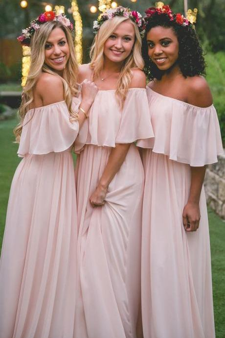 Boho Off Shoulder Chiffon Bridesmaid Dresses Cheap 2018 Backless Wedding Party Dresses Long Prom Dress Party Dress Custom Made
