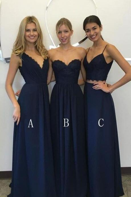 Two Pieces Bridesmaids Dresses Wedding Gowns Chiffon Lace Open Back Sheath Prom Dresses Cheap Party Dress Wedding Gowns