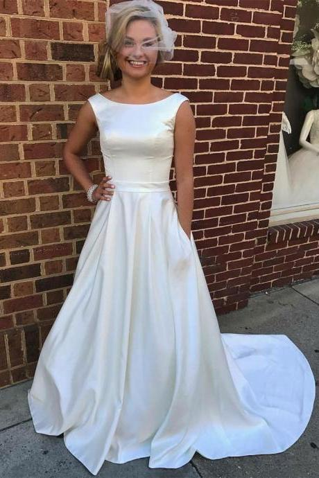 2018 Simple White Dresses Evening Wear With Pocket Bateau Cap Sleeve Open Back Prom Dresses Long Party Dress Evening Gowns
