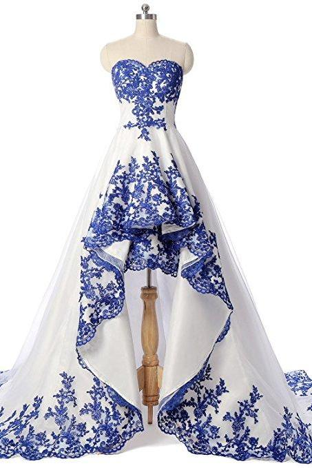 Royal Blue Applique Lace Bridal Dresses High Low Strapless Open Back Satin Evening Gowns For Women Prom Party Dress Formal Gowns Wedding Dresses 2018